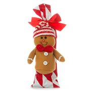 Boz Christmas - Gingerbread Man Red Chevron Chocky Stocking