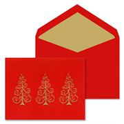 Crane & Co - Hand Engraved Gold Scroll Trees Greeting Cards