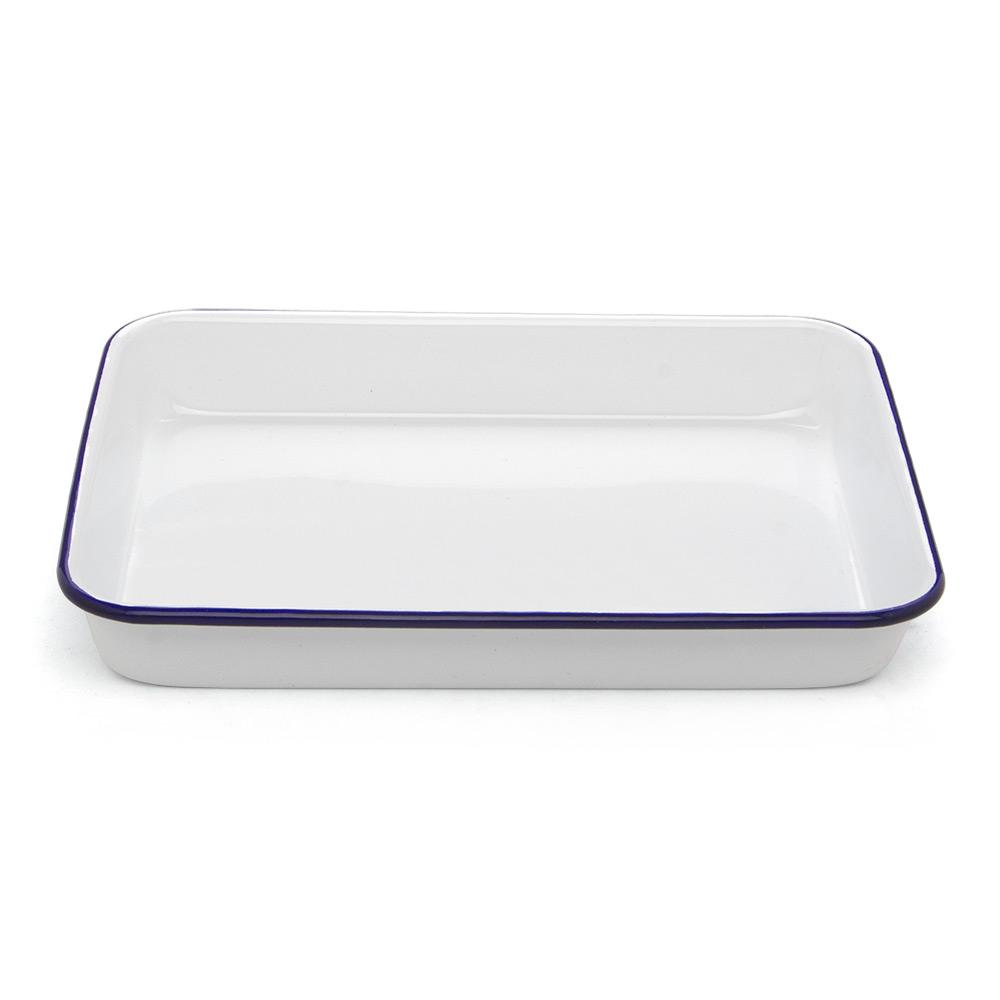 falcon white blue enamel rectangle baking tray 24x18cm. Black Bedroom Furniture Sets. Home Design Ideas