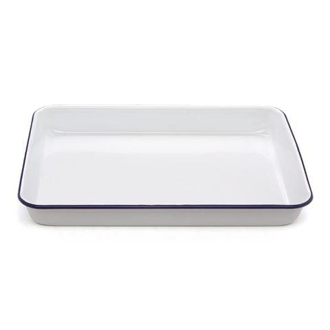 falcon white blue enamel rectangle baking tray 28x22cm. Black Bedroom Furniture Sets. Home Design Ideas
