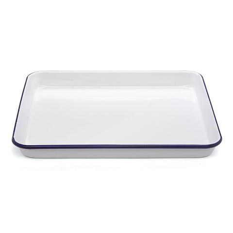 falcon white blue enamel rectangle baking tray 31x27cm. Black Bedroom Furniture Sets. Home Design Ideas