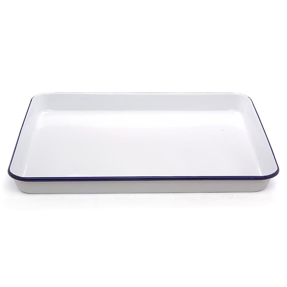 falcon white blue enamel rectangle baking tray 41x32cm. Black Bedroom Furniture Sets. Home Design Ideas