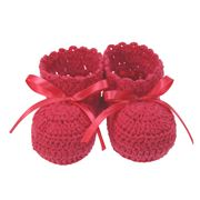 DLUX - Minnie Hand Crocheted Cotton Booties  Rose