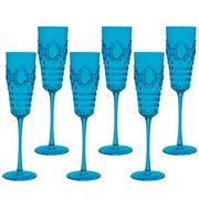 Baci Milano - Baroque Turquoise Champagne Flute Set 6pce