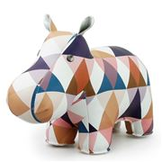 Zuny - Classic Hippo Kaleidoscope Tan, Blue & White Bookend