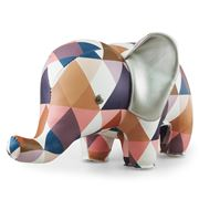 Zuny - Classic Elephant Kaleidoscope Tan/Blue/White Bookend