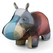 Zuny - Classic Hippo Kaleidoscope Blue and Brown Bookend