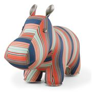 Zuny - Classic Hippo Cosy Stripe Blue, Red and Green Bookend