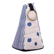 ART - Brass Ring Navy Spot Pyramid Doorstop