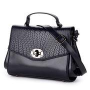 Sigma Leather - Foldover Woven Look Black Handbag