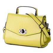 Sigma Leather - Foldover Woven Look Lime Handbag