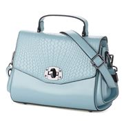 Sigma Leather - Foldover Woven Look Light Blue Handbag