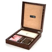 Renzo - Victor Brown Crocodile Leather Bridge Game Box