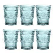 Baci Milano - Neo Barocco Arabesque Aqua Water Glass Set 6pc