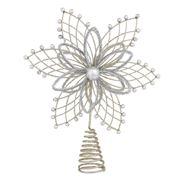 Swish Collection - Poinsettia Silver Tree Topper 31cm