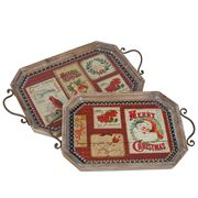 Swish Collection - Vintage Wooden Tray Set 2pce