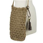 Condura - Mia Taupe Crochet Sling Bag