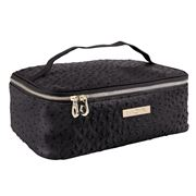 Mor - Destination Madrid Faux Ostrich Train Case Black