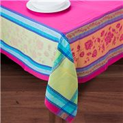 French Linen - Arles Fuchsia Treated Tablecloth 160x200cm