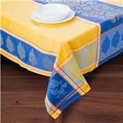 French Linen - Caprice Jacquard Yellow Treated Tablecloth