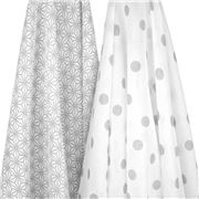 Emotion & Kids - Grey Spots & Geometric Muslin Wrap Set 2pce