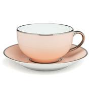 Limoges - Legle Rose Petal Breakfast Cup & Saucer Platinum