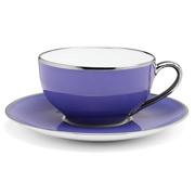 Limoges - Legle Provencal Blue Teacup and Saucer Platinum