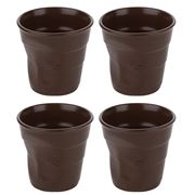 Revol - Crumple Brown Espresso Cup Set 4pce