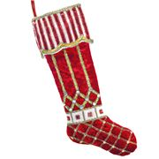 Katherine's Collection - Noel Stocking With Candy Cane Cuff