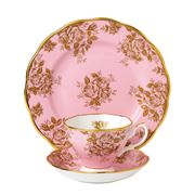 Royal Albert - 100 Years 1960s Gold Rose Teacup Saucer Plate
