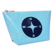 Lolo - Avery Blue Stripes Navy Compass Cosmetics Case