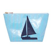 Lolo - Avery Blue Stripes Navy Sailboat Cosmetics Case