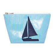 Lolo - Avery Blue Stripes Navy Sailboat Cosmetics Case