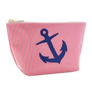 Lolo - Avery Red Stripes Navy Anchor Cosmetics Case