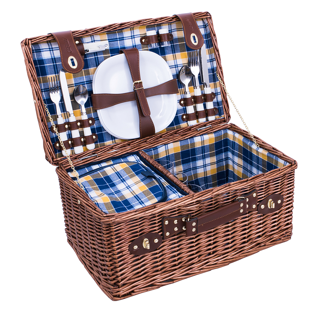 Picnic Baskets For 4 Ireland : Avanti four person blue yellow check picnic basket