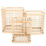Papaya - Pacific Open Weave Bamboo Square Basket Set 3pce