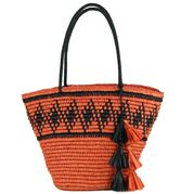 Condura - Emily Orange/Black Crochet Tote Bag