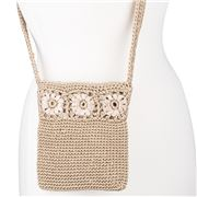 Condura - Betty Taupe Crochet Cross Body Bag