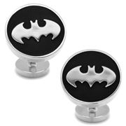 Cufflinks - Matte Black & Chrome Bat Symbol Cufflinks
