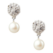 Carolee - Crystal Fireball & Pearl Drop Pierced Earrings