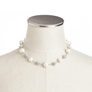 Carolee - Crystal & White Pearl Illusion Necklace Silvertone