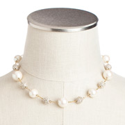 Carolee - Crystal & White Pearl Illusion Necklace Goldtone