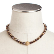 Carolee - Cocoa Pearl Necklace with Gold Crystal Centre