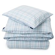 Lexington - Poplin Check White & Blue King Quilt Cover