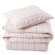 Lexington - Poplin Check Flat Sheet White & Coral King