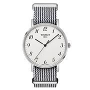 Tissot - Everytime Silver Wristwatch w/ Black & White Strap