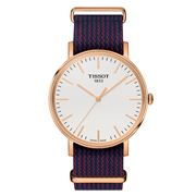 Tissot - Everytime Rose Gold Wristwatch w/ Blue & Red Strap