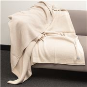 Bemboka - Pure Soft Cotton Throw Reversible Rib Wheat/Sand