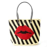 Skipping Girl - Lips Cream & Black Carry All Tote Bag