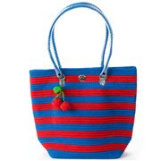 Skipping Girl - Cherry Red & Blue Stripe Classic Tote Bag